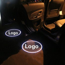 Wholesale Inductive Car - 2pcs Wireless Car Door Welcome Light For Most Cars Car LOGO Projection LED Universal Lamp No Interface Inductive Switch Light Bulbs
