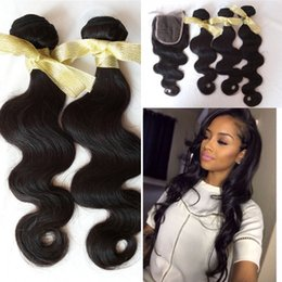 Wholesale Hair Lace Top Closure Sale - G-EASY Hair with lace closure 4x4 cheap Cambodian body wave 3bundles sale with top closure DHL fast shipping