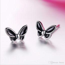 Temperamento ear jewelry feminino explosão coreano presente dos Namorados borboleta preta brincos fabricantes atacado cheap wholesale valentine earrings de Fornecedores de brincos de namorados por atacado