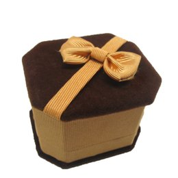 Wholesale Velvet Bow Jewelry Gift Boxes - Luxury Velvet Jewelry Gift Boxes Packing Boxes with Elegant Bow 12pcs lot Packing Boxes for Rings Noble Brown Jewelry Packing Boxes