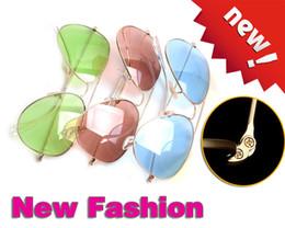 Wholesale Vintage Glass Frog - High Quality Vintage Sunglasses Pink Fashion Unisex Sunglasses Women Brand Designer Frog Glasses Glass Lens Men Sunglass Metal glitter2009