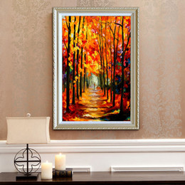 Wholesale Autumn Oil Paintings - Spring and summer autumn and winter pure hand painted oil modern home simple decoration style canvas mural palette painting JL054