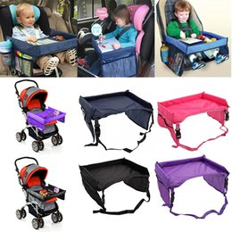 Wholesale Travel Trays Car - Newest Children Table Baby Car Safety Belt Travel Play Tray Waterproof Foldable Table Kids Car Seat Cover Pushchair Snack Desk WX9-170