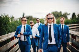 Wholesale Men Spring Cool Wear - 2015 Cool Dark Blue Tuxedos Two Buttons Wedding Suits Groom Best Man Groomsmen Wedding Tuxedos Wear (Jacket+Pants+Tie+Handkerchief)