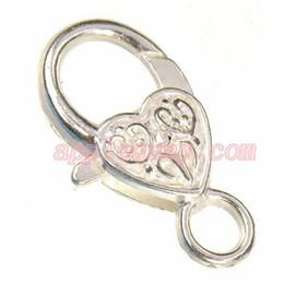 Wholesale Handbag Hook Heart - diy jewelry findings clasps hooks for chains leather bracelets handbag toggles shiny silver heart love large metal handmade 25mm new 50pcs