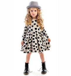 Wholesale Cute Casual Dresses For Kids - New girls clothes Cat Printed baby dress for party Autumn Kids Long Sleeve Cartoon casual dress girls clothes Children cute dresses BJ026