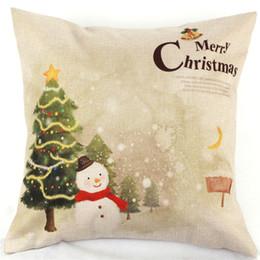 Wholesale Christmas Decorative Throw Pillows - Wholesale-Christmas Throw Home Decorative Cotton Linen Square Pillow Cases Sofa Car Cover Christmas Cartoon Santa Elk Home Decor