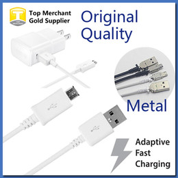 Wholesale Galaxy Metal S4 - For I 5 6 Original Samsung Galaxy S4 Note 4 Micro USB Cable V8 1M 3FT 1.5M 5FT Note 3 S5 Metal Plug Copper Core USB Cable Data Sync Charger