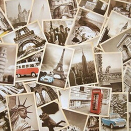 Wholesale Famous Craft - 2015 Arts, Crafts & Gifts Free Shipping Famous Building Vintage style poster memory postcard set Arts and Crafts