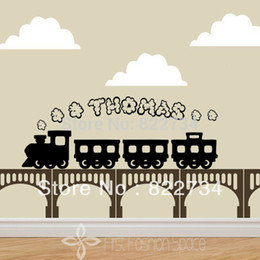 Wholesale Boys Name Wall Decals - Free Shipping Train Smoke Personalised Any Name Vinyl Wall Stickers Wallpapers Wall Decals Graphic Boys for Kids Rooms 40*100cm