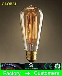 Wholesale Incandescent Fixture - Fashion Incandescent Vintage Light Bulb Edison Bulb Fixture ST64 E27 Bulbs 220V 110v 40W Bulb Lights Antique Bulbs Edison Antique Lamps