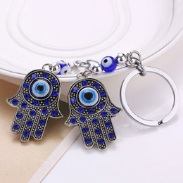 Wholesale Hand Ring Girls - 3 Styles Palm Keychain Turkey Blue Eyes Alloy Keychain Bag Pendants Keychain Kabbalah Hand Car Key Ring D305S