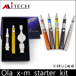 Wholesale Electronic Cigarette Passthrough Kit - Authentic Ola X-M Starter Kit Mjtech Olax M 650mah Premium Kit Electronic Cigarette USB Passthrough Battery BDC Atomizer via DHL