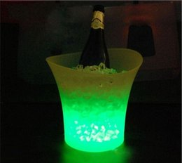 Wholesale Wine Liter - 5 Liters Volume Clear plastic led ice bucket colorful changing nightclubs LED light ice bucket Champagne wine beer ice bucket bar supply