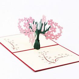 Al por mayor-3D Pop-Up tarjeta hecha a mano Cherry Tree aniversario de San Valentín de Navidad Gracias-Y103 desde fabricantes