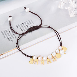 Wholesale Pearl Drop Charm - New Titanium Steel Charms MAMA Letter Macrame Handmade pearls brown cords Bracelet wholesale 1pcs drop shipping Pulsera oso