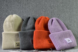 Wholesale Faces Smile - band tag Acne winter square smile face knitted hats cashmere thickening warm Men women Beanie Skull Caps tide street hip-hop wool cap