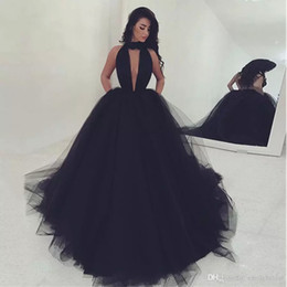 Wholesale Halter Ball Gown Navy - 2017 Long Sexy Black Masquerade Prom Dresses Halter Ball Gown Puffy Arabic Special Occasion Evening Party Formal Wear Gowns