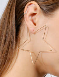 Wholesale Large Gold Filled Hoops - Large Size Hoop Pentagram Earrings Gold & Silver Fashion Simple Star Women Jewelry Huggie Street Style Essential DC66