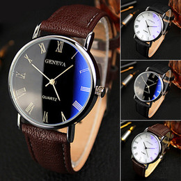 Wholesale Deal Watch - Hot Selling Good Deal Men Roman Numerals Blu-Ray Faux Leather Band Quartz Analog Business Watch 6JJZ