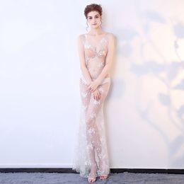 2019 nova moda sexy com decote em v mulheres vestidos de baile skinny hot club desgaste lindo vestido de festa lace ver através do corpo auto show modelo chique de