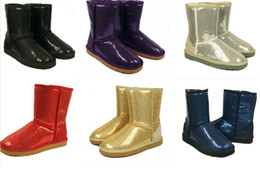 Wholesale Gold Sparkle Shorts - 2016 Australia Classic Short Sparkles Snow Boots lady 3161 Handmade Glitter Sequins decoration Plush Winter women's boots