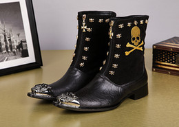 Wholesale Skull Knight - Winter Fashion Boots Male Metal Toe Half Gold Skull Zipper Embroidery Genuine Leather Black Patchwork Motorcycle Boots Knight Boots