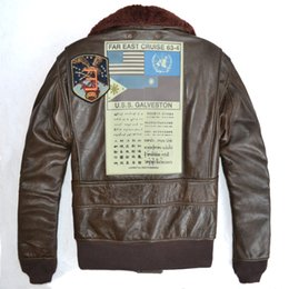 Wholesale Short Leather Jackets Sale - Sales discount AVIREX JACKET US Air Force pilot men's genuine leather jacket multi-standard G1 man leather flight suit