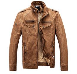 Wholesale Men S Leather Jacket 4xl - Fall- High Quality mens Pu leather Washed Jacket jaqueta de couro masculina Fleece inside Vintage color Winter L-4XL Jacket