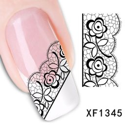 Wholesale Decals Nail Art Sticker - Free Shipping Sexy 3D Black Lace Flower Design Nail Art Stickers Decals For Nail Tips Nail Decoration Self Adhesive 1Sheet