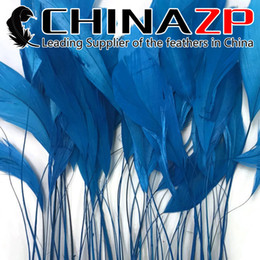 Wholesale Wholesale Coque Tail Feathers - Gold Supplier CHINAZP Crafts Factory 100pcs lot 10~15cm(4~6inch) Length Good Quality Dyed Blue Stripped Eyelash Coque Tail Feathers