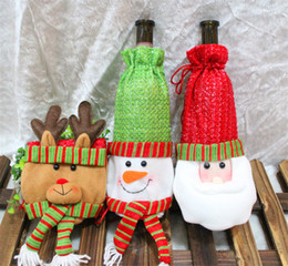 Wholesale Home Decor Suppliers Wholesale - 20Pcs Lot Happy Santa Xmas Wine Bottle Cover Bags Christmas Dinner Table Decoration Home Party Decors Christmas Supplier Free Shipping
