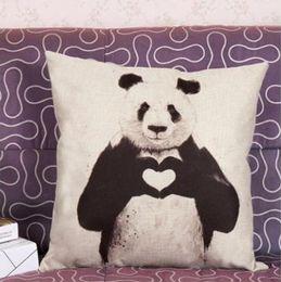 fundas de almohada hechas en casa Rebajas Fundas de cojín Love Panda Print Patrón de algodón de lino Kung Fu Panda Funda de almohada Home shop Decoración 45 * 45cm / 17.7 * 17.7 '' envío de regalo de la gota