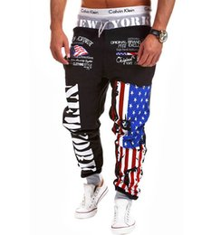 Wholesale American Flag Men Pants - Wholesale-Men's Hip hop American USA FLAG Jogger Sport Sweat Cotton Pants Skinny Sport Pants Tracksuit Bottoms Training Running Trousers