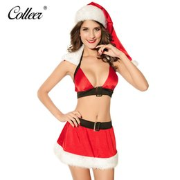 Wholesale Sexy Feet Set -  COLLEER new christmas sexy lingerie hot fastion cute bra+ belt Feet girl skirt sexy underwear set sexy Costume erotic lingerie