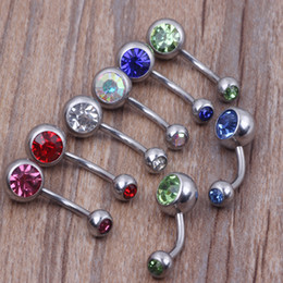 Wholesale Free Shipping Belly Button Rings - 316L Surgical Steel Crystal Rhinestone Belly Button Navel Bar Ring Piercing 50PCS LOT 10 colors Free Shipping