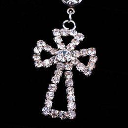 Wholesale Cross Eyebrow Ring - Rhinestone Cross Dangle Navel Belly Button Bar Ring Body Piercing Jewelry #15871
