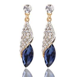 feiner kronleuchter Rabatt Top Quanlity Marke Conch Blue Kronleuchter Ohrringe Feine Sterling Silber Schmuck Weibliche Hochzeit Kristall Baumeln Ohrringe