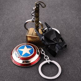 Wholesale Hammer Keychain - New The Avengers Marvel Character Captain America Thor Hammers Hulk Batman Mask KeyChain Keyrings Key Chain