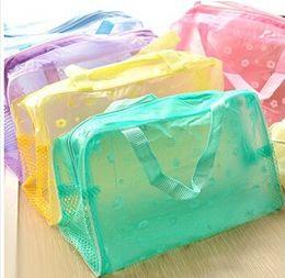 2019 casi di sacchetti cosmetici gialli Il trucco impermeabile trasparente della stampa floreale di alta qualità compone la borsa cosmetica di toilette del sacchetto cosmetico 200pcs che spedice liberamente
