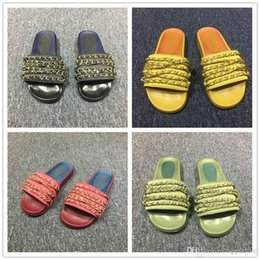 Wholesale Mop Slippers Wholesale - 2017 TROPICONIC SLIDE SANDALS Size 36-39 Genuine Leather Chain Slide Flat Slippers Outdoor Beach Babouche Baboosh Chinela 5 Colors Olive