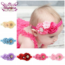 Wholesale Hairs Accesories - Nishine New Satin Rose Flower Headband with Shining Button Kids' Hair Accessories Headband Hairband Accesories 14 Colors to Choose