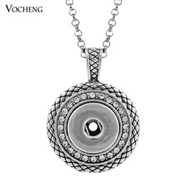 Wholesale Stainless Pendant Silver - NOOSA Ginger Snap Necklace Button Pendants with Crystal Jewelry Interchangeable Jewerly with Stainless Steel Chain NN-032