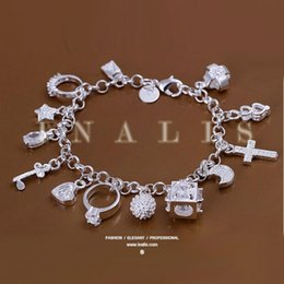 Wholesale Brass Cross Charms - Super beautiful high-quality 925 Silver Swarovski Elements Crystal fashion charm cross star lovely bracelet Cheap jewelry Holiday gifts H166
