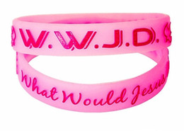 Wholesale Middle Eastern Food - 2pcs Lot Fashion 4 colors WWJD Spiritual Wristband Band Christian Belief Promotion Gift Wrist Bracelet
