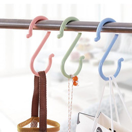 Wholesale Organize Homes - Wholesale- S Shape Hooks Baby Stroller Hook Hanger Clothing Plastic Multi-function Home Use Clasp Rack Organize Hooks Tool Home hook W45