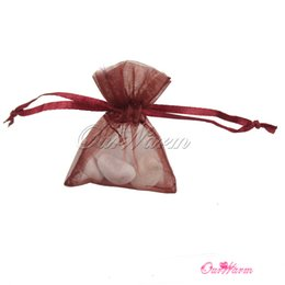"Wholesale Red Favor Bag 12cm - Free Shipping Dark Red 50 Pieces a lot 3.5"" x 4.7""9cm x 12cm Strong Sheer Organza Pouch Wedding Favor Jewelry Gift Candy Bags"