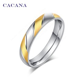 Wholesale brilliant steel - Wholesale- CACANA Stainless Steel Rings For Women Brilliant Fashion Jewelry Wholesale NO.R84
