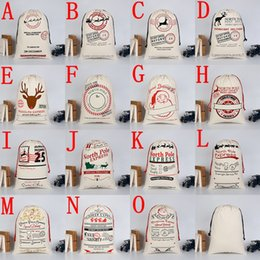 Wholesale Cloth Bags For Gifts - 20 colors Christmas Gift Bags Large Organic Heavy Canvas Bag Santa Sack Drawstring Bag With Reindeers Santa Claus Sack Bags for kid