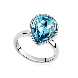 Wholesale Wholesale Fine Jewelry Sapphire - Fashion Alloy Heart Romantic wedding ring Austrian crystal diamond Engagement Ring Fine Jewelry Rings for Women